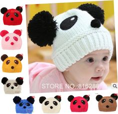 Free shipping lovely cotton baby boy girl panda hats and caps kids knitted beanie cap for children to keep warm cute craft $3.98