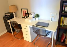 For the girls' study area in the basement. IKEA Linnmon tabletop Casey's Apartment: One Month in. Guest Room Office, Office Decor, Office Inspo, Desk Office, Ikea Kids Desk, Ikea Linnmon Desk, Kids Office, Shared Office, Long Desk
