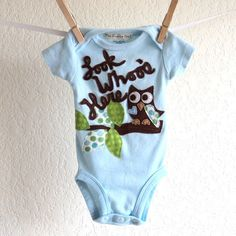 New baby outfit, BOYS Owl , Look Whoo's Here personalized shirt, baby shower gift, spring summer infant clothes - newborn, 3, 6 months. $29.00, via