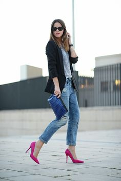boyfriend jeans, black blazer, grey tee, pink suede pointed heels and Proenza Schouler clutch.