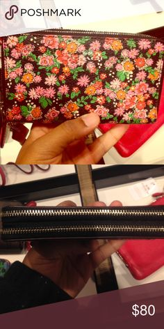 Floral coach double wallet/wristlet Larger than standard 1 zip wristlet brand new with tags ! Coach Bags Clutches & Wristlets