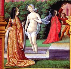 1515-David and Bathsheba, Book of Hours, Artist Unknown, France, Tours, c.1515-1520 – http://www.kimiko1.com/research-16th/FrenchHood/1500/David_Bathsheba.html