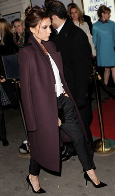 VICTORIA BECKHAM WINE MERLOT COAT OVER THE SHOULDER WHITE COLLARLESS  BLOUSE THIN BELT MIRRORED METAL METALLIC GOLD BOX CLUTCH MANOLO BLAHNIK PATENT BLACK PUMPS HEELS ISABEL MARANT WOOL GREY GRAY TROUSERS GOLD PAVE DIAMOND RING TWO TONED STRIPE GOLD WATCH STUD EARRINGS