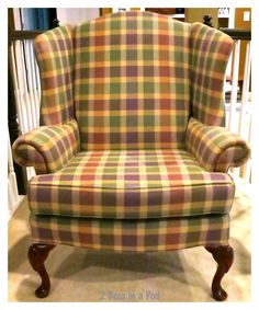 Wing chair before. The painted chair feels light a light canvas. Diy Chair, Chair And Ottoman, Wingback Chair, Chair Cushions, Chair Slipcovers, Chair Redo, Egg Swing Chair, Swinging Chair, Swing Chairs