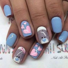 My work, nail art, love, teddy bear