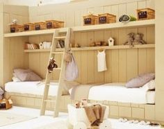 not really bunk beds but could make storage space above beds.  Great Idea for tight space children's room.