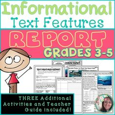 Students have a chance to practice writing about text features and how they help…