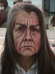 Old Age makeup: basic map before blending.