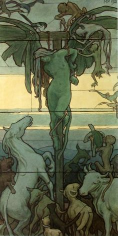 Homo Homini Lupus (Man is a Wolf to Man), 1901, by Maximilian Pirner (Czech, 1854–1924). Watercolour. Vienna Secession member. Prague National Gallery