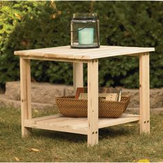 Two Tier Cedar/fir End Table — 20in.l X 20in.w X 18 1/8in.h