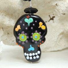 SALE SUGAR SKULL Handmade Lampwork Bead Necklace