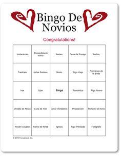 printable spanish bridal bingo bingo de novios