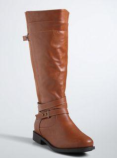 Multi Strap Gore Tall Boots (Wide Width), COGNAC