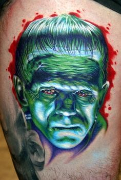 Highlights are amazing. Tattoo by Cecil Porter 3 Tattoo, Full Body Tattoo, Body Tattoos, Tatoos, Frankenstein Tattoo, Cool Tats, Horror Show, Tattoo Parlors, Skin Art
