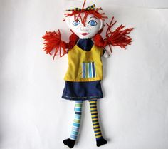 Hand Puppet Pippi Longstocking or Modify to Anne of by Meoneil, $30.00