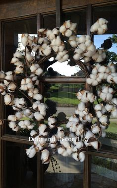 Cotton Wreath-Cotton Boll-Rustic Cotton Wedding by DoorandDecor