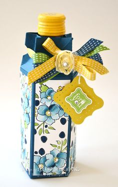 Bottle Koozie-The bottle koozie is made with the Stampin' Up! Candy Wrapper Bigz L die.