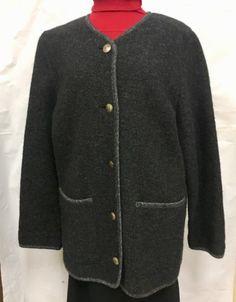 Vintage-LL-Bean-Small-Women-039-s-Wool-Cardigan-Sweater-Jacket-Coat-Black-Gray
