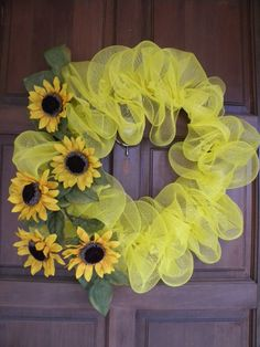 Yellow Sunflower Deco Mesh Wreath. $65.00, via Etsy.