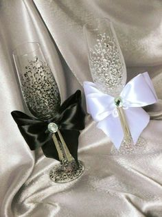 Wedding glasses from the collection LACE black white by DiAmoreDS, $45.00