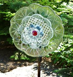 Unique Glass flower garden art  (shop name rainydaygirls2)  $45