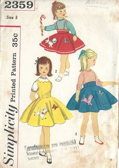 Size 6 Girls Full Circle Jumper Dress or Skirt w/ Kitten Applique, Simplicity 2359 Vintage Sewing Pattern Sewing Patterns For Kids, Vintage Sewing Patterns, Circle Skirt Pattern, Patron Vintage, Girls Jumpers, Simplicity Patterns, Vintage Skirt, Vintage Dresses, Retro