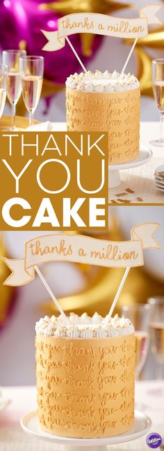 Want to send a special message of thanks and appreciation? What better way to show your gratitude than with this Thank You Gold Cake! Featuring messaging all around the sides of the cake, this dessert is a great way to tell someone how much they mean to you. Easy to customize with whatever message you'd like, this tasty treat could also be used for birthdays, anniversaries or as a baby or bridal shower cake or for any celebration.