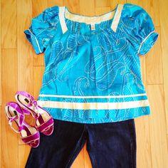 Diane Von Furstenberg Silk Top Diane Von Furstenberg Silk Top... In a wonderful shade of blue True to size. Diane von Furstenberg Tops Blouses