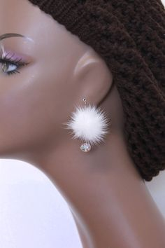 ** Mink Fur Ball And Crystal Earrings Diy Earrings, Earrings Handmade, Handmade Jewelry, Crystal Earrings, Cute Jewelry, Jewelry Crafts, Beaded Jewelry, Make Your Own Bracelet, Fur Accessories