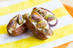 Pistachio Cream Cheese Stuffed Dates are an easy snack recipe with only three ingredients. Pack in a lunchbox or serve as a party appetizer.