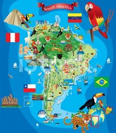 South America Cartoon Map royalty-free stock vector art
