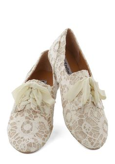 Just a Glitter Bit Flat in Ivory - White, Tan / Cream, Lace, Fairytale, Flat, Good, Lace Up, Glitter, Variation