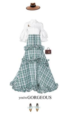 A fashion look from May 2017 featuring white top, high-waist skirt and flat shoes. Christian Siriano, Rompers, Country, Polyvore, Dresses, Fashion, Vestidos, Moda, Rural Area