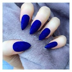 Doobys Stiletto Nails Electric Blue velvet furry nails 24 Claw Point F ❤ liked on Polyvore featuring beauty products and nail care