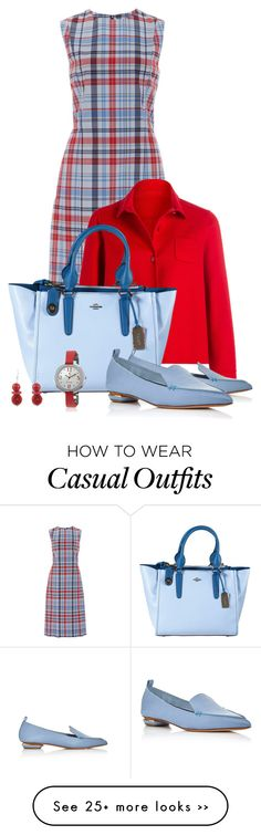 """""""Casual outfit: Red - Light Blue"""" by downtownblues on Polyvore"""