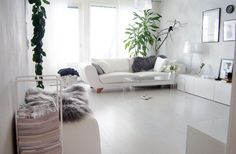 Scandinavian style living room, white-gray with some details