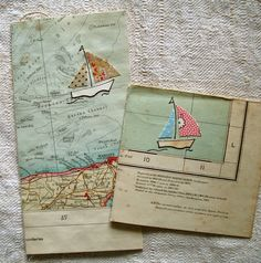 Recycled map cards. Gloucestershire Resource Centre http://www.grcltd.org/scrapstore/