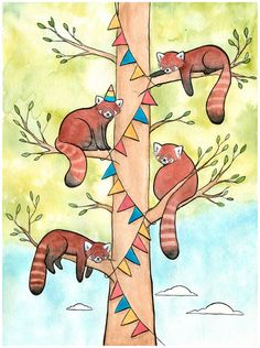 Red Pandas Hanging Banner for a Party  Red Panda by DanielleVGreen, $16.00