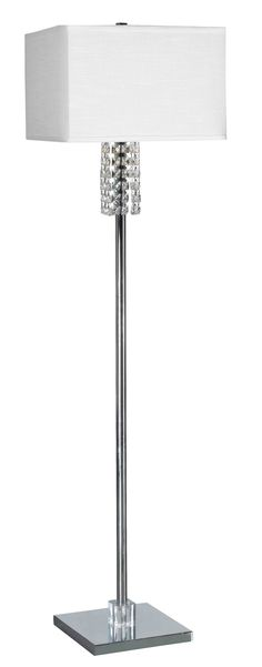 Bedazzle Floor Lamp - Adorned with K9 crystal accents and an elegantly textured shade, Bedazzle adds a chic twist to the Chrome finished pole lamp.