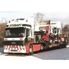 Here we have - Shani - Iveco EuroTech- RHH) Attached to a low-loader trailer carrying two Volvo tractor units Eddie Stobart Trucks, New Trucks, Old Wagons, Classic Trucks, Buses, Volvo, Roads, Tractors, Transportation