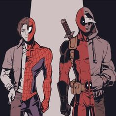 Marvel's Peter Parker/Spiderman and Wade Wilson/Deadpool - Visit to grab an amazing super hero shirt now on sale!