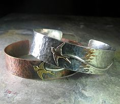 Hammered Copper Bird Cuff - Soaring Free