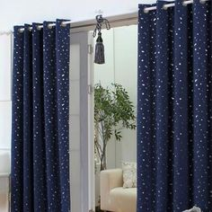 Outer Space Style Navy Cotton Blackout Curtains with Stars (Two Panels), Buy Dark Navy Print Energy Saving Curtains, Cheap Artificial Fiber/Linen Blend Cotton Curtains Sale