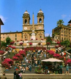 Rome, Italy ~ The Spanish Steps. With its characteristic butterfly plan, the Piazza di Spagna is one of the most famous images in the world, as well as being one of the most majestic urban monuments of Roman Baroque style. In the Renaissance period, the square was the most popular tourist attraction in the city: it attracted artists and writers alike and was full of elegant hotels, inns and residences.