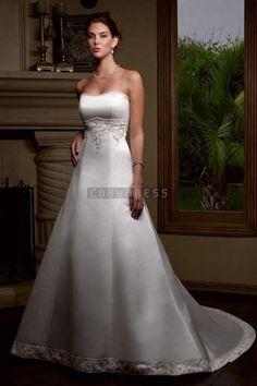 Chapel Train Applique Empire Graceful Satin Wedding Dress
