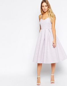Image 1 of ASOS Midi Skater Dress in Bonded Texture