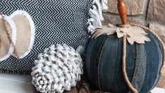 Pumpkin Decor | Using An Old Pair of Jeans Fake Pumpkins, Painted Pumpkins, Fabric Pumpkins, Halloween Pumpkins, Halloween Ideas, Pumpkin Stem, Pumpkin Crafts, Pumpkin Art, Pumpkin Recipes