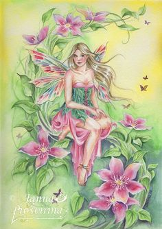 Clematis by JannaFairyArt on DeviantArt Fairy Myth Mythical Mystical Legend Elf Faerie Fae Wings Fantasy Elves Faries Sprite Nymph Pixie Faeries Hadas Enchantment Forest Whimsical Whimsy Mischievous