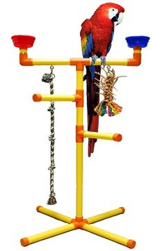 Large Floor T-Perch - Perches - Playgyms,Table Top Perches & Stands - PVC Items - BIRD TOY MAN parrot toys swings ladders parts