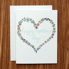 Happy Mother's Day Floral Heart Card